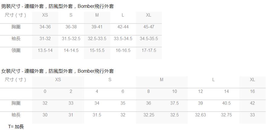 Size chart - Baubax (Bomber, Sweatshirt, Windbreaker)