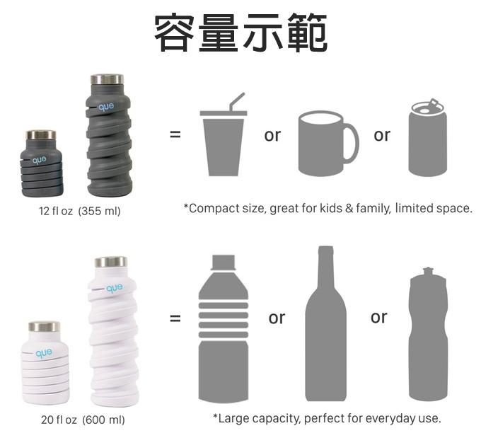 美國 que Bottle 超Q彈 省空間 可折疊 時尚水瓶 - 6
