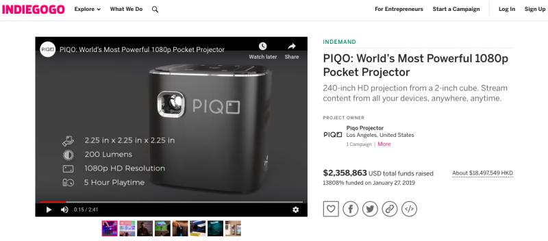 美國 PIQO 極細 1080p HD智能投影機 media 2