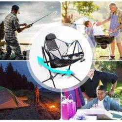Foldup 戶外兩用搖搖椅,室內室外都可以用,適用於釣魚、休閒坐陽台、野外、或去沙灘。特別在它採用韆鞦設計