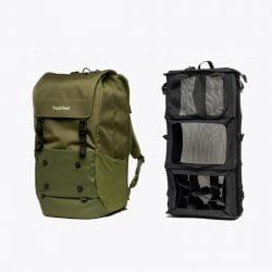 Tropicfeel Shell 備有獨特衣櫥收納系統,可隨意轉換容量 22L – 40L,去旅遊時可以擴大成40L 輕鬆把衣物收納,更設有日常商用收納格
