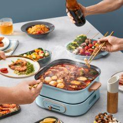 日本Yohome 多功能料理鍋 多功能鍋靈活切換,火鍋、煎肉、小食、燜飯、滿足多種煮食需求,一鍋多用